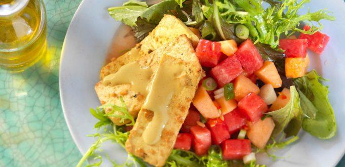Melonen-Tofu-Salat