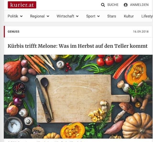 Beitrag im Kurier über Kürbis - Aufmacher