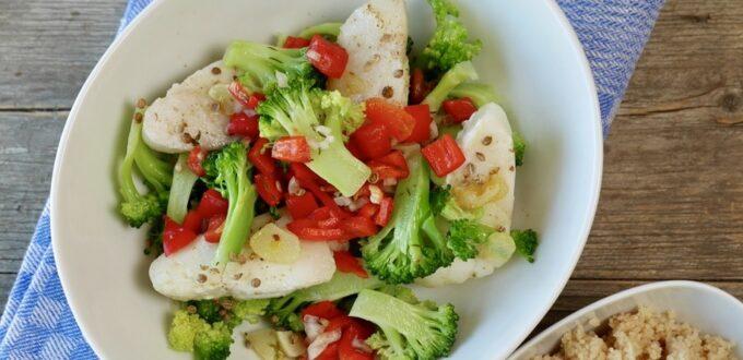 orientalische Brokkoli-Fisch-Pfanne